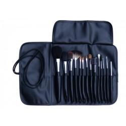 PRO Makeupsæt med 14 pensler i læderpung